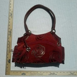 Brighton Handbags - BRIGHTON RED LEATHER SUEDE ROSE HANDBAG