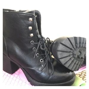 Cathy Jean Shoes - Black Heeled combat boots