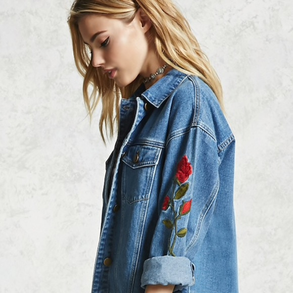 Forever 21 Jackets Coats Rose Embroidered Denim Jacket Poshmark