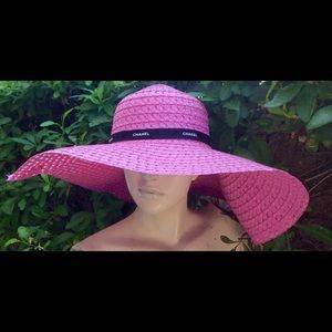 Authentic Original Vintage Style Accessories - Vintage pink straw hat with Chanel ribbon decor