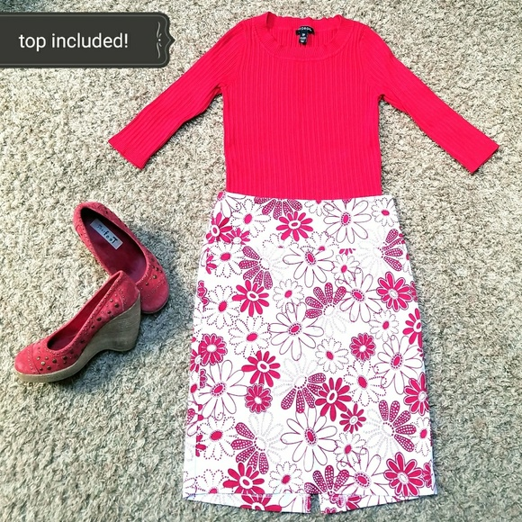 russe floral pencil skirt with matching