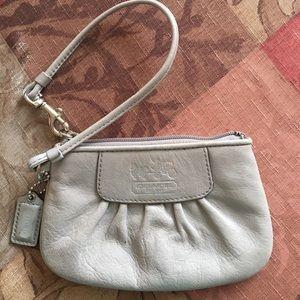 Coach Handbags - Coach Taupe Leather Wristlet
