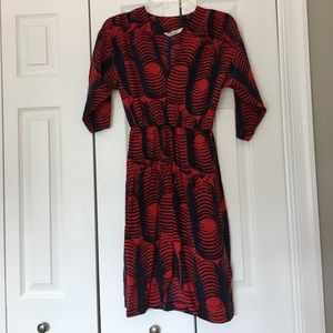Tucker red and navy print silk dress