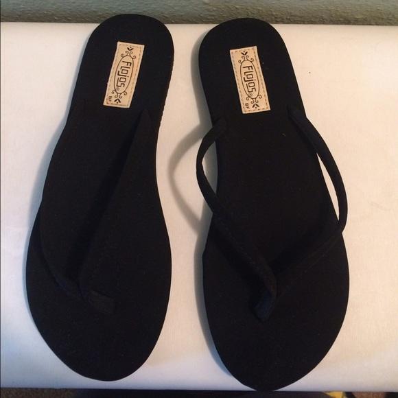06cb207e0 Flojos Shoes - New Flojos Women s Black Flip Flops Size 7