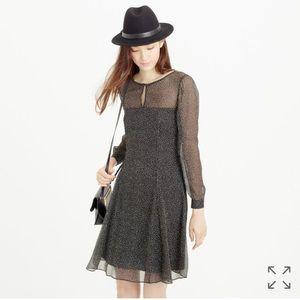 J. Crew Dresses & Skirts - J. Crew Long-Sleeve Speckled Chiffon Dress