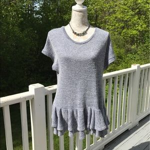 Pretty Persuasions Tops - Like New - Persuasions Gray Tired Ruffled Knit Top