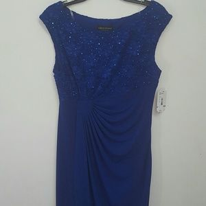 Nwt - Connected Apparel drape front cobalt dress