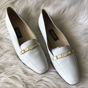 Bally White Leather Loafers, 7.5