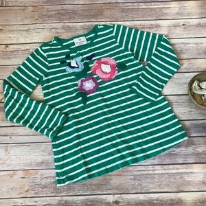 Hanna Andersson Tops - H.A. green + white striped floral long sleeve 120