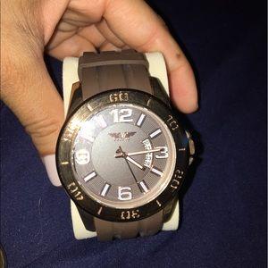 Men's Brown Watch Rubber Band Bronze face