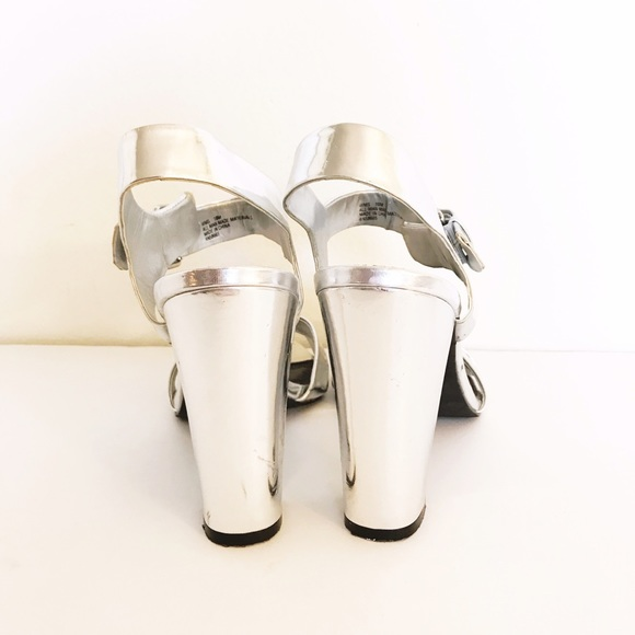 Shoes - Metallic Silver Block Heels