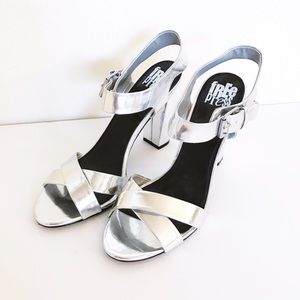 Metallic Silver Block Heels