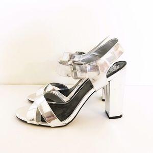 Shoes - Metallic Silver Block Heels