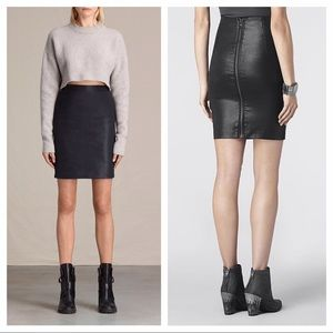 All Saints Metal Pencil Skirt