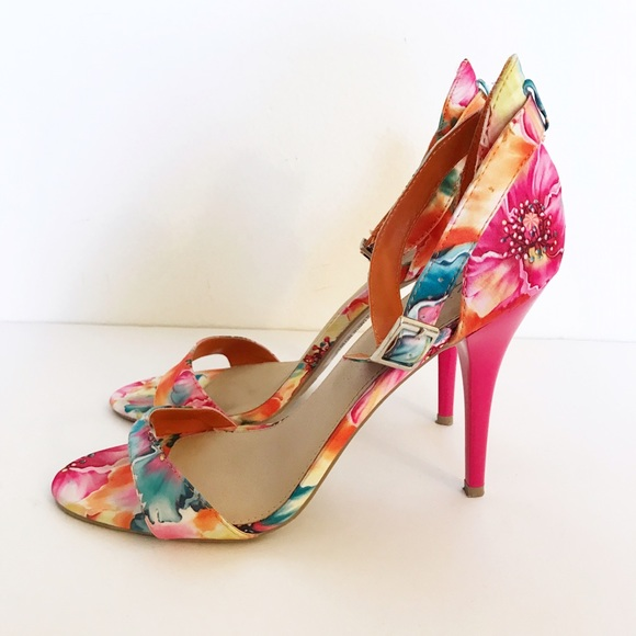 Mossimo Supply Co Shoes - Bright Floral Strappy Heels