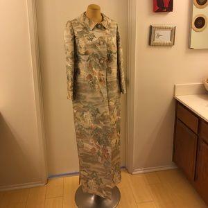 Eve Jackets & Blazers - Vintage Antique Brocade Silk Trench -Asian Pattern