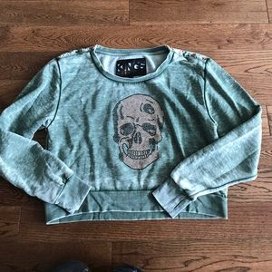Kings of Cole Sweaters - Kings of Cole Cropped Sweatshirt w Rose Gold Skull