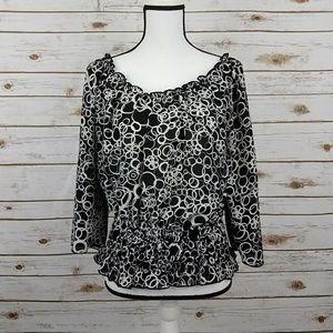 {CATO} Black/White Circle Print Silky Top-Medium
