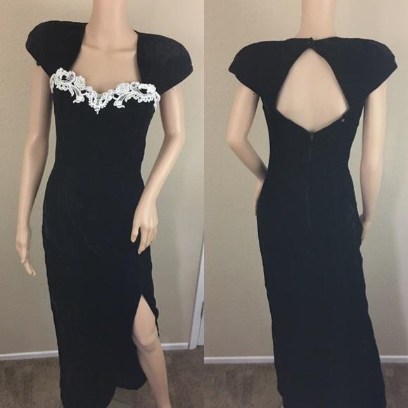 9271b8232c76c Vintage 80s velvet lace pearl slit maxi dress. M_592b39557fab3a28e80173bd