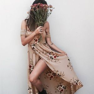 ✨ Off Shoulder Smocked Faux Wrap Floral Maxi Dress
