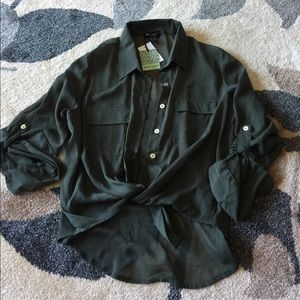 About A Girl Tops - Green sheer button up