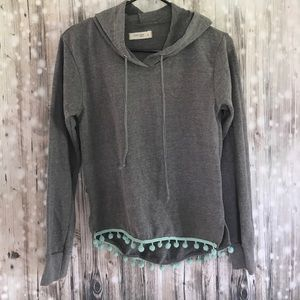 Ocean Drive gray and mint green Pom Pom hoodie S