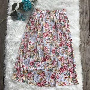 Vintage Floral Button-Front Skirt
