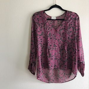 UO Pins and Needles Leopard Print Blouse