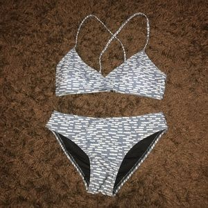 Frankie's Bikinis Other - Grey and white patterned bikini top and bottom!