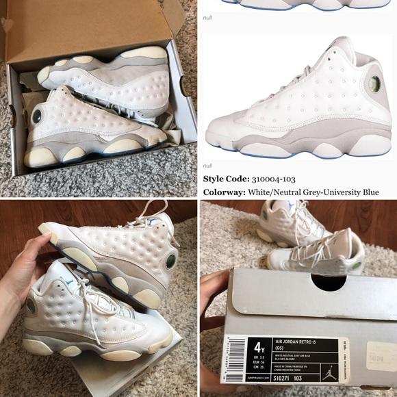 54530eebc4a Jordan Other - Air Jordan 13 Retro– White / Grey– University Blue