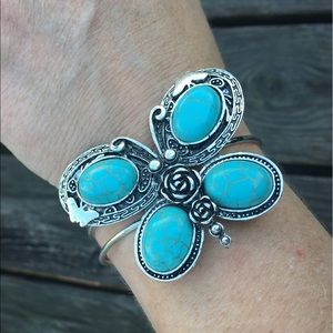 List! Antique Turquoise Butterfly Cuff! NEW!