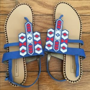 Cynthia Vincent Leather and Embroidered Sandals
