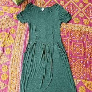 Anthropologie Dresses & Skirts - Anthro Weston Wear Green Jersey Drop Waist Dress