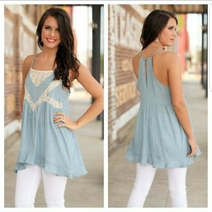 Infinity Raine Tops - LAST ONE!! Chambray Lace Tunic