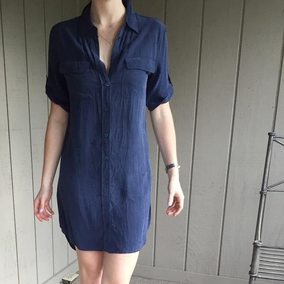 04f35011d2d45f Equipment Dresses   Skirts - Navy Equipment silk shirt dress