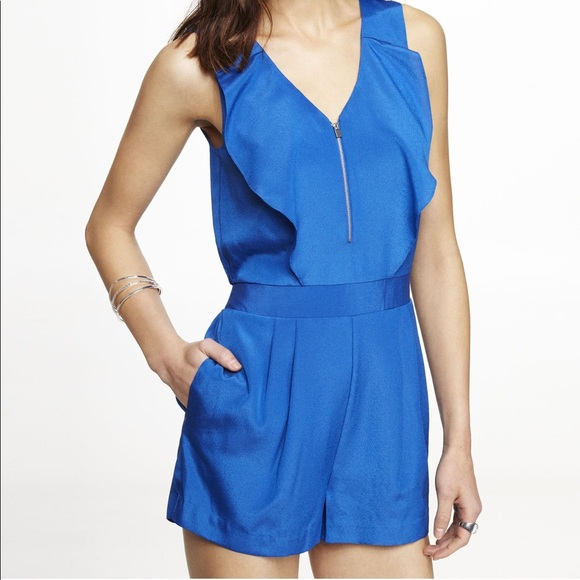 fdecdc6e90fc Express Pants - Express blue romper with ruffles and front zipper
