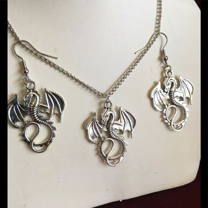 Jewelry - Whimsical SteamPunk Dragon Earrings & Necklace SET