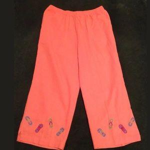 Kim Rogers Pants - KIM ROGERS Orange Rayon Pants Flip Flop Design
