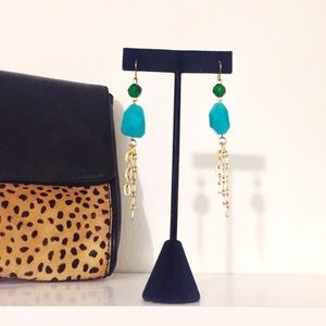 Francesca's Collections Jewelry - Turquoise & Emerald Colored Stone Dangle Earrings