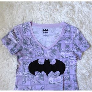 OLD NAVY purple batgirl comic strip v-neck top