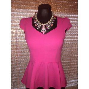 Tops - Very girly hot pink peplum top!