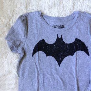 "OLD NAVY light grey Batman ""faded"" logo v-neck top"
