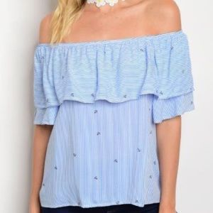 Tops - ⚓️Blue/white striped off the shoulder top⚓️