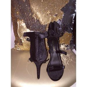 Shoes - black strappy sandal heels w/peekaboo strap detail