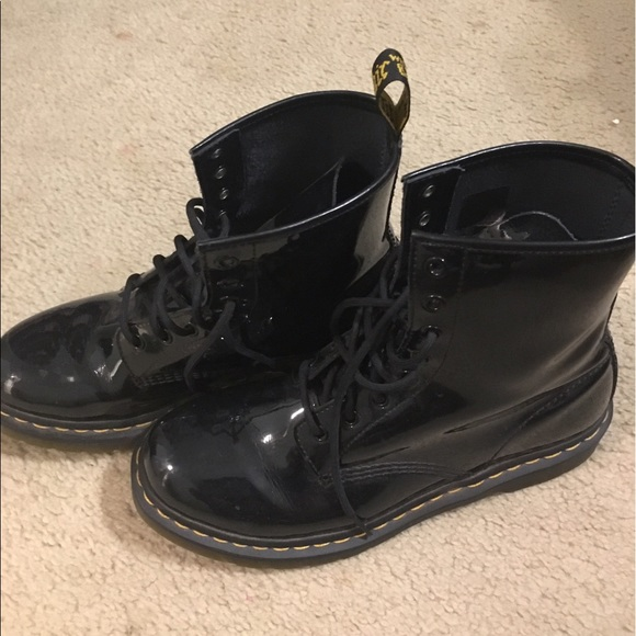 Dr Martens Black Patten Leather Boots Or Shoes