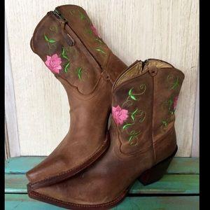 Tony Lama Shoes - Tony Lama Pink Embroider Flower Western Cowboy 8.5