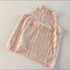 Katherine Barclay Tops - Pink brocade chiffon high neck layered tank top