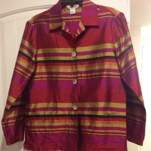 Allison Taylor Tops - Like new 100% silk striped blouse w/front  pockets