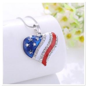 Patriotic Enamel Heart Necklace