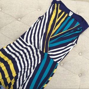 Sangria Dresses & Skirts - Sangria Long Asymmetrical Striped Dress